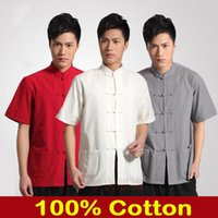 Wholesale Black New Vintage Chinese Men s Cotton Kung Fu Shirt Top with Pocket Size S M L XL XXL XXXL XXXXL LD286