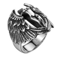 angels bible - Fashion Brand Men Rings L Stainless Steel Jewelry Men Rings Bible Cross Angel Wings Archangel Tyrael Vintage Teenage Ring