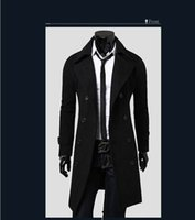 mens overcoats - 2016 new brand slim fit mens overcoat good quality double breasted winter long trench coat men