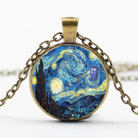 acrylic painting sky - 2016 Van Gogh Starry Sky Works Oil Painting Necklace Time Gemstone Prints Mural Art Picture Pendant Jewelry Men Women