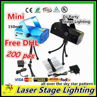 Wholesale Free DHL Mini Laser Stage lighting Led Holiday150mW Mini Green Red Laser DJ Party LED Laser Stage Lighting Disco Dance Floor Lights