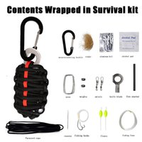 Wholesale NEW EDC GEAR Carabiner Grenade Paracord Outdoor Camping Survival Kit Fishing Kit With Fire Starter And Sharp Eye Knife