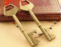 big objects - 24 MM Antique Bronze Retro big key pendant antique objects DIY handmade jewelry accessories vintage key charm metal key bulk