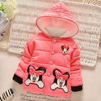 baby outerwear snowsuit - 2016 Winter Cute Cartoon Mickey Kids Baby Girls Snowsuit Long Sleeve Coat Cotton Outerwear Thick Clothes MC0167