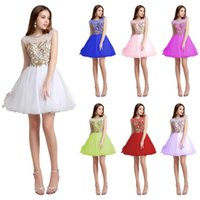 Wholesale Sheer Neck Beaded Short Graduation Dresses Cap Sleeves Illusion Bodice Knee Length Real Photos Homecoming Cocktail Party Ball Gowns