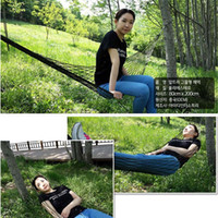 bandages nylon bags - New Outdoor Mesh Camping Hammock For Single Bold Dark Green And Blue Nylon Rope Hanging Bed With Bandage And Pouch Bag GD H08