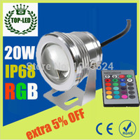 Wholesale W v underwater RGB Led Light Waterproof IP68 fountain pool Lamp Lights16 color change IR Remote controller Led Spot Lights