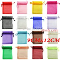 Wholesale 100pcs Mix Jewelry Packing Drawable Organza Bags Wedding cmx12cm AA W03208