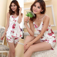 Wholesale Women s Sexy Flower Sleepwear Braces Shirts Shorts Underwear Pajamas Robes Set