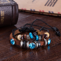 Wholesale Handmade Charm Bracelet Personalized Infinity Braided Leather Bracelets Blue Multilayer Beaded Rope Bracelet Silver Plated Chain