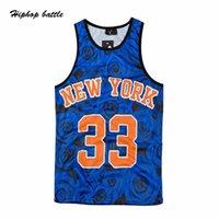 Wholesale Rose Print Number Jersey Material Basketball Tank Top Men Summer Streetwear Hip Hop Tank Tops Sport Top for Men White