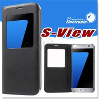 apple windows mobile - For S7 S7 EDGE Leather Flip Mobile Phone Case For Samsung Galaxy S6 Window View Shock Proof Cover For Galaxy S6 EDGE NOTE CASE