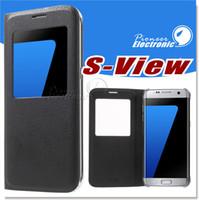 al por mayor cubiertas del teléfono móvil iphone-Para la caja de cuero del teléfono móvil del tirón de S7 S7 EDGE para la cubierta de la choque-Prueba de la visión de la ventana de la galaxia S6 de Samsung para la galaxia S6 EDGE NOTA 5 CASO