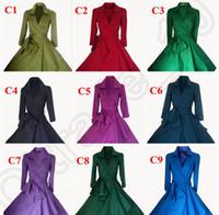 Wholesale 50PCS Vintage s s Audrey Hepburn Style Rockabilly Women Pinup Check Swing Dress Street Party Coat Dress Waistband Colors LJJJ88