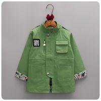 Wholesale Kids Trehcn Coat for Boy Gril Wear Stand Collar Zipper Coat Fashion Casual Children s Clothes Spring Autumn Unisex Jacket Children Outerwear