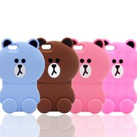 bear cover for iphone - Luxury d cute cartoon bear soft silicone case back protective mobile phone cover skin for iPhone s SE s plus