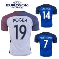 Wholesale Whosales Discount FraNceeESS POGBA Football Jersey Maillot GRIEZMANN Jersey EURO CUP Shirt Soccer Uniform A Quality
