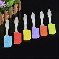 Wholesale mixed colors Kitchen utensil personalized silicone brush spatula cookie spatula with plastic handle