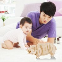 Wholesale DIY D Three dimensional Wooden Animal Pig Style Jigsaw Puzzle Toys for Children Kid Handmade Wood RJ P0638