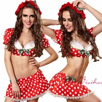 adult christmas outfits - Sexy Costumes for Women Maid Cosplay Red Polka Dots Top Mini Skirts Sexy Sets Adults Halloween Christmas Party Outfits