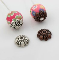 bali charms - 2016 hot x9 mm Antique Silver Copper Bali Style Design Bead Cap Jewelry Findings Components