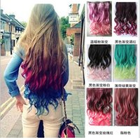 Wholesale Excellent quality super long wavy clips in hair extensions synthetic hair curly thick ombre colour for full head high quality