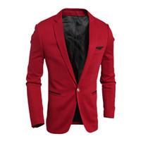 Precio de Solo botón abrigos negros-La chaqueta de la chaqueta de los hombres La nueva manera de la llegada 2016 ocasionales adelgaza el solo hombre apto de la capa de los hombres de la chaqueta del botón masculino negro de la chaqueta masculina Outwear el tamaño de los EEUU