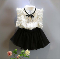 Wholesale Shirts Butterfly Sleeves - Cute Girls Summer Clothes Sets 2016 New Children Striped Sleeveless Vest Shirt+Black Short Skirts 2pcs Kids Outfits Baby Girl Suits 5set lot