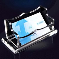acrylic desktop accessories - Transparent New Fashion Office School Acrylic Business Card Holder Large Capacity Desktop Card Storage Business Office Accessories Papelaria