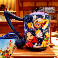 attached lens - Newest Authentic Hongkong Disneyland Blue music attached shape handgrip Mug Mickey Mouse Donald Duck cartoon ceramic cup coffe cup
