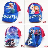 Wholesale 10pcs HOT SALE Forzen Baseball Caps Kids Frozen Snapback Girls Baseball Caps Frozen Hats Children Hat