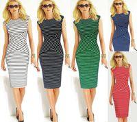 Wholesale Concise fashion stripe sleeveless stitching pencil skirt dress sexy Elegant Vestidos O neck Sleeveless Casual Knee length Dresses