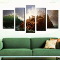 abstract dog art - 5 Picture Combination Painting The Sea Dog of The Tsunami Abstract Printing Paintings Wall Art Paintings for Home Decoration Living Room