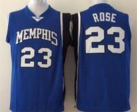 best quality roses - Best Quality Derrick Rose College Jerseys Memphis Tigers Shirt Uniform Rev New Material Team Color Blue Fashion Pure Cotton Breathable