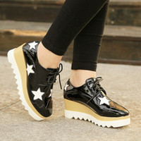 arrival platform shoes - New Arrival Europe Korean Style Women Fashion Casual Star Platform Slope With Shoes Lace up Hollow Grenadine Patchwork Breathable Footwear