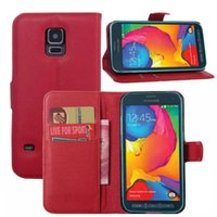 Wholesale Stand For Galaxy S3 - PU Leather Wallet Case For Samsung galaxy S3 S4 S5 S5 mini slot card wallet style stand holder case 6 colors FREE SHIPPING