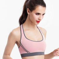 Wholesale New Women Padded Top Athletic Vest Gym Fitness Sports Bra Stretch Shockproof Yoga Bra Cross Back Running Vest Underwear