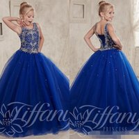 Wholesale Custom Made New Toddler Pageant Dresses for Teens Beading Crystal Royal Blue Ball Gown Kids Formal Birthday Party Prom Dresses