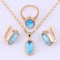 Wholesale Attractive Sky Blue Topaz White Topaz K Gold Plated Jewelry Set Earrings Ring Pendants Chain Women Fashion Jewelry E0003