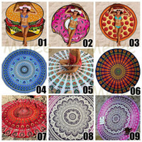 beach towel mat - 20 Designs Choose Free Round Donut Pizza Hamburger Towel Beach Cover Ups Sexy Beach Towel Chiffon Swimsuit Cover Up Yoga Mat Dim cm