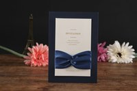 Wholesale Navy Blue Invitations with Ribbon Layered Modern Invitation Cards for Wedding Business Party Celebration Invites Universal
