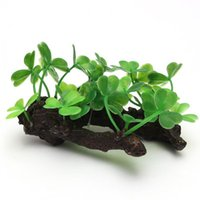 Wholesale Hot Sale New Aquarium Fish Tank Ornament Artificial Plastic Plant Clover Green Grass Decor