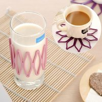 Wholesale 2pcs Adjustable silicone insulation cup mat flower design non slip coaster placemat for table kitchen accessories home decor