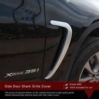 Wholesale High Quality set Side Vents Cover For BMW X5 Side Door Shark Grills Cover Chrome Styling Accessories