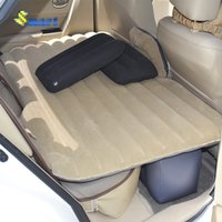 Wholesale Portable PVC Flocking Cloth Car Bed with Safety Block Inflatable Car Bed Air Bed Color Beige