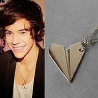 airplane directions - One Direction Band Harry Styles Silver Paper Airplane Pendant Necklace Men Women Jewelry Chain Collares Choker Necklaces
