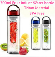 best sports water bottle - 700ML Fruit Infuser Water Bottle for Sports Health Juice Maker Best BPA Free Colors Lemon Bottles Fast Way DHL CPA004