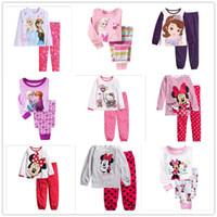 al por mayor niñas pijamas princesa-6 sistemas / juego de los niños del ratón de Minnie Princesa Sofia Hello Kitty Elsa Anna pijamas de niños de la porción del bebé de la ropa de noche de las muchachas Homewear Pijamas