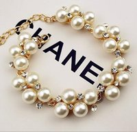 Wholesale Gold plated rhinestone bracelet European and American fashion retro pearl bracelet beaded bracelet a468