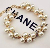 Wholesale Gold plated rhinestone bracelet European and American fashion retro pearl bracelet beaded bracelet a468